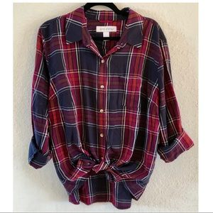 Pure Energy Purple Plaid Button Up Shirt 2x